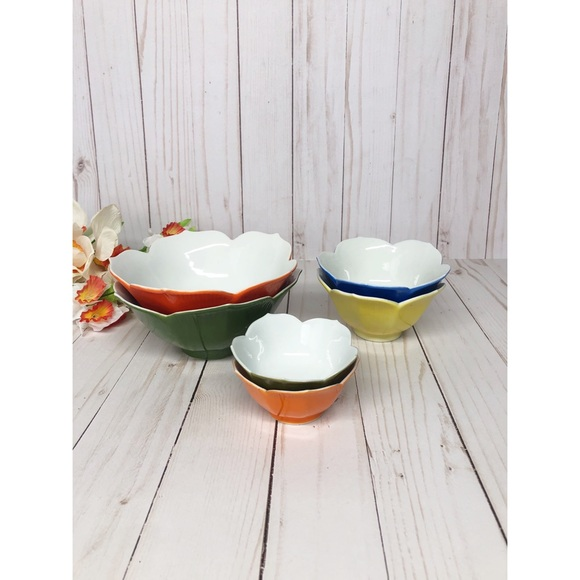 Vintage Japan Colored Stackable Lotus Bowls
